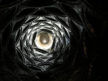 looking up through the chimney of the monastery kitchen